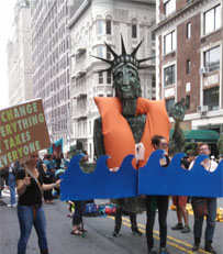 Giant puppet of Statue of Liberty