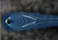 Earth's magnetosphere absorbing solar plasma